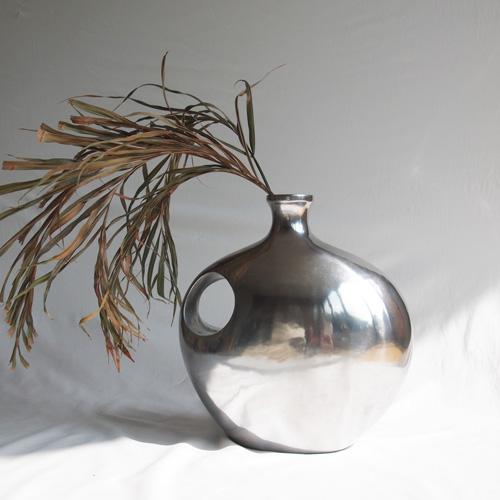 Sculptural silver vase