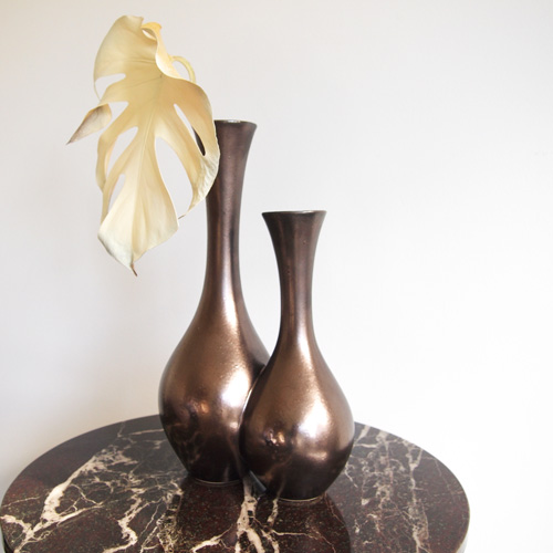 Brown twin vase