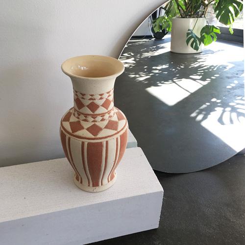 Patterned ceramic vase