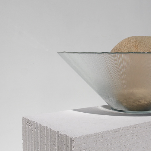 Textured glass bowl